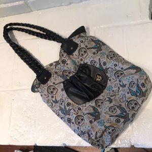Loungefly canvas skull and bird purse